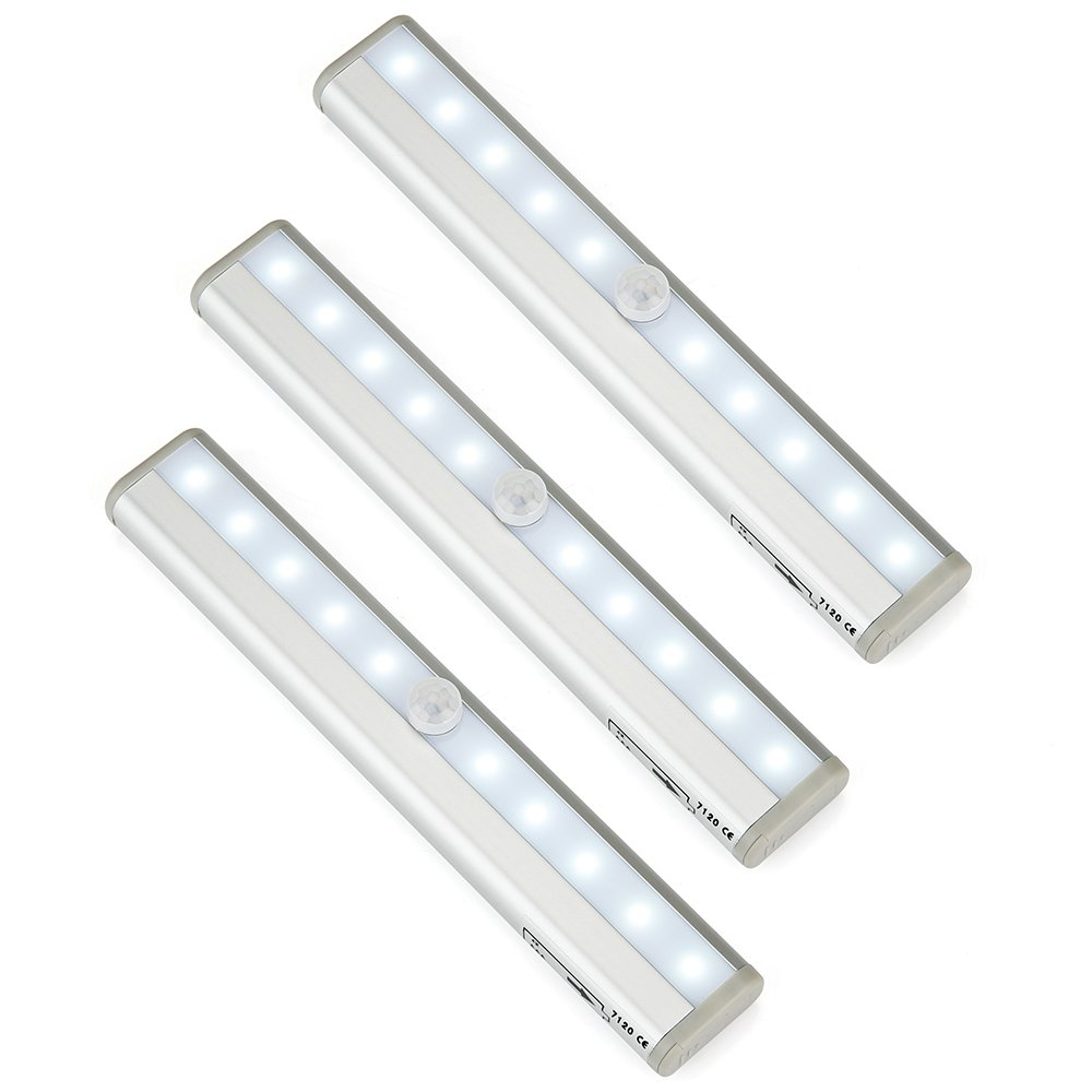 Hallomall Aluminum Shell 10 Led Wireless Battery Powered Pir Motion Sensor Lights with Magnetic Strip, Pack of 3