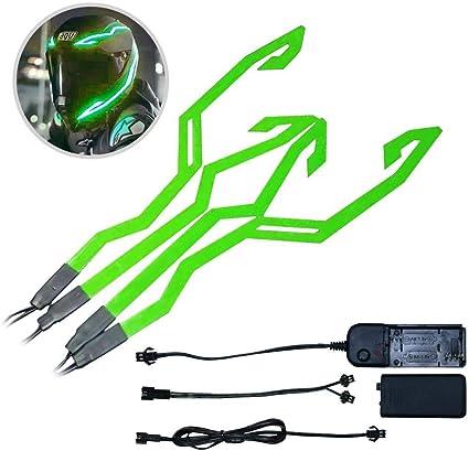 Perfuw Motorradhelm Lichter Kit Helm Aufkleber Warnsignal Blinkende Streifen Für Fahrrad Oder Motorrad Grün Küche Haushalt
