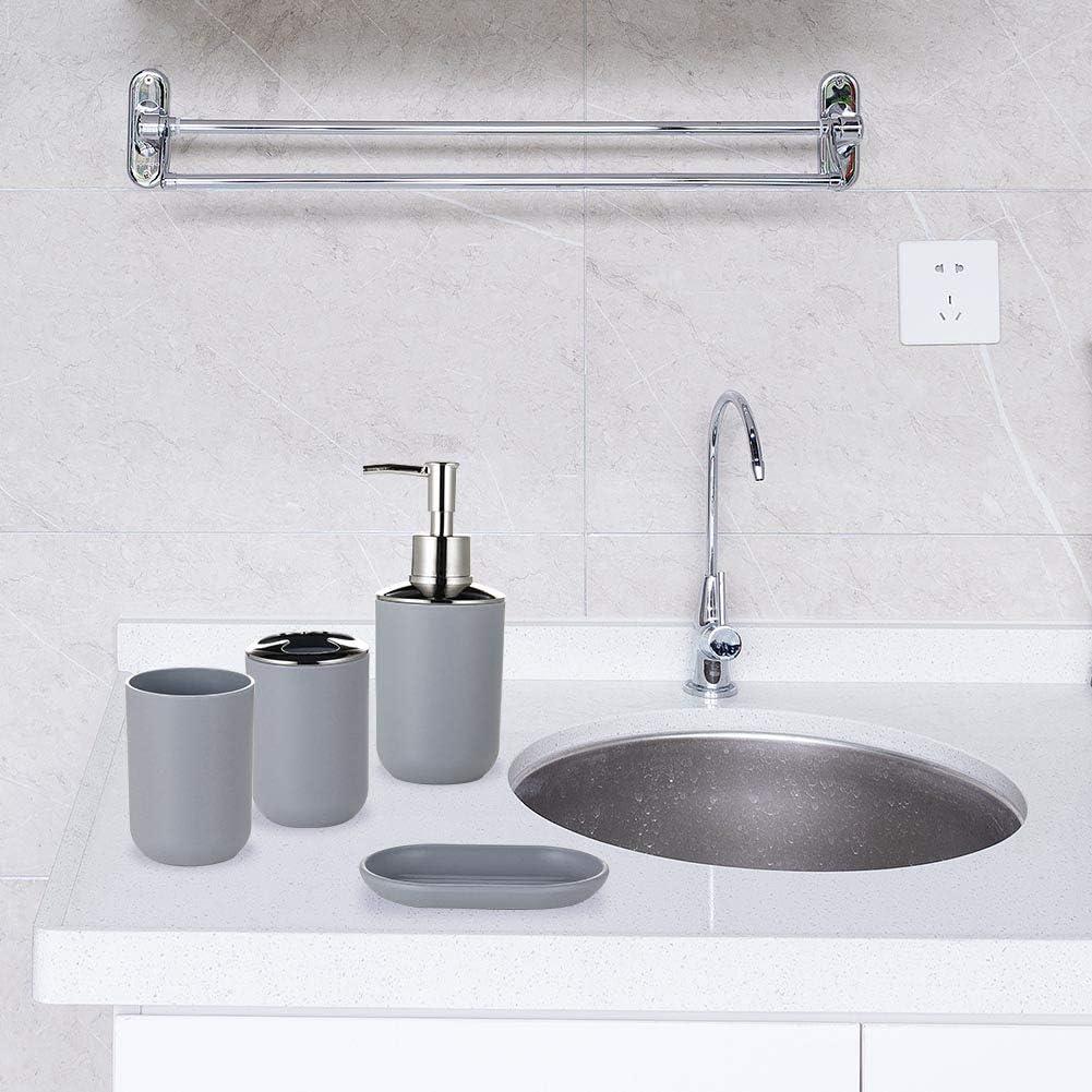 Zoternen Badezimmer-Set 6 Teile//Set bestehend aus Zahnb/ürstenhalter Sp/ülbecher Seifenspender Seifenschale Toilettenb/ürstenhalter und M/ülleimer Bianco Wei/ß//Schwarz//Grau