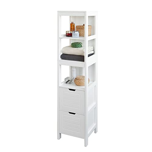 sobuy frg126 w white floor standing tall bathroom storage cabinet with 3 shelves and 2 drawers