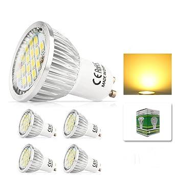 mengjay® 5 piezas 6 W GU10 Bombillas LED equivalentes a lámpara halógena de 50 W