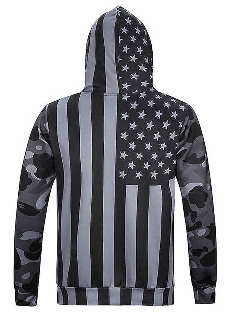 Gocgt Mens Casual American Flag Print Hoodies Sweatshirts Tops