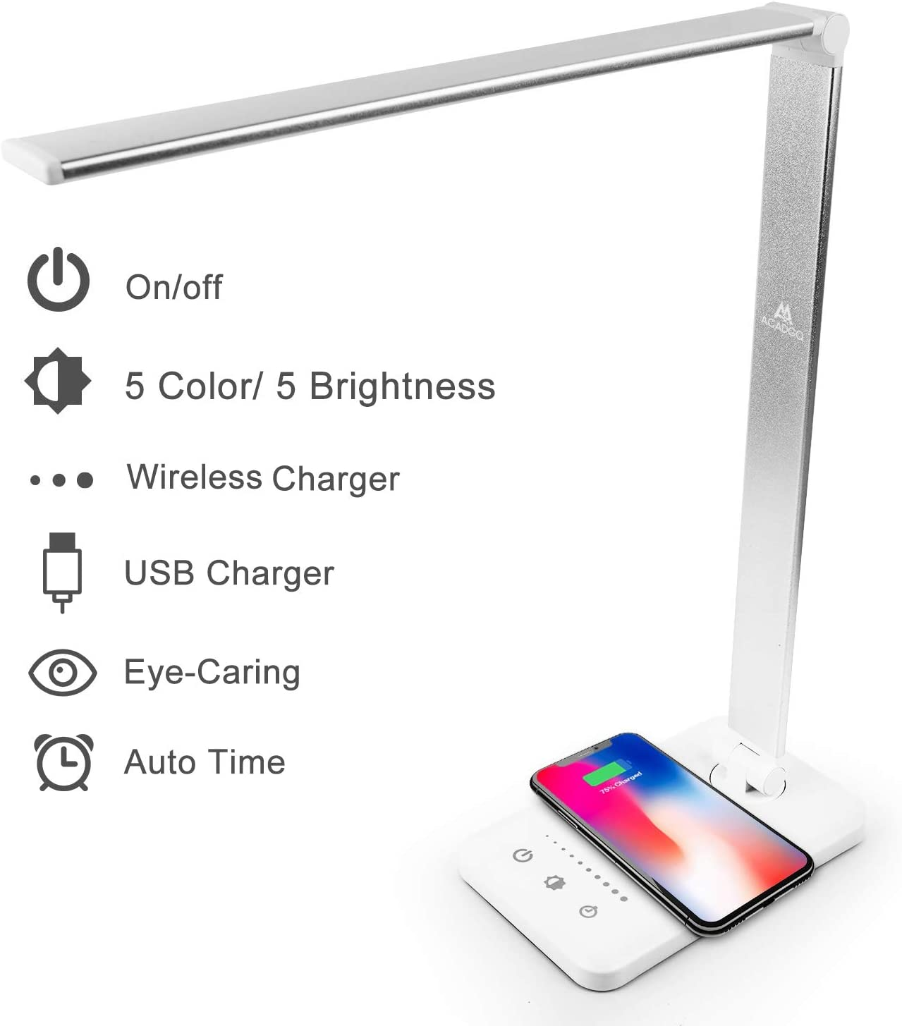 LED Desk Lamps for Home, Touch Control Desktop Lamp with Wireless Charger, USB Charging Port, Timing, 5 Colors Lighting and Sliding Touch Dimming, Folding Design Office Reading Light for Bedroom, Dorm