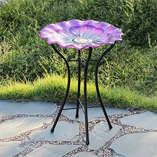 Winsome House Glass Purple Flower Bird Bath with Metal Stand