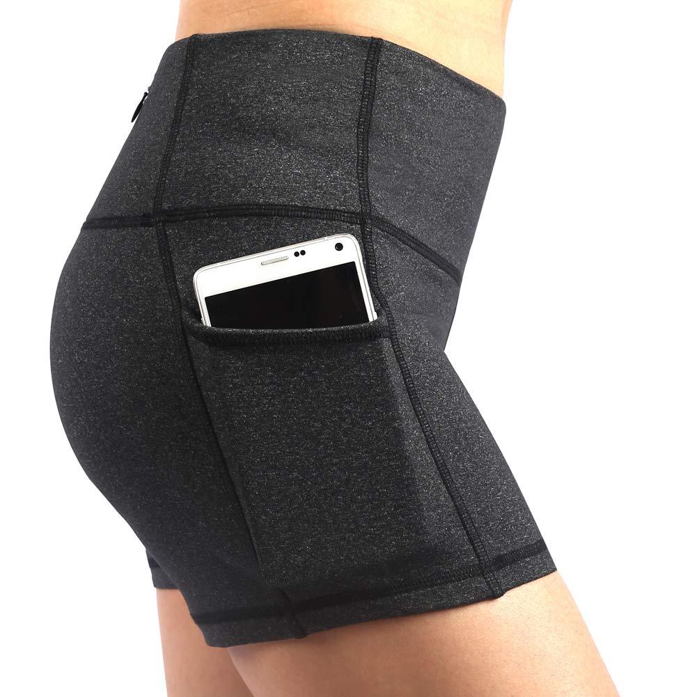 Deep Grey_S Se Yo Women's Leggings High Waist Yoga Pants Pocket Running Workout Tights No See Through Capri Leggings Long Length