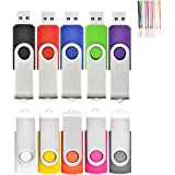 2GB USB Memory Stick by HOFOUND 10Pack Thumb Flash Drives USB 2.0 with Lanyard - Black,Red,Blue,Green,Purple,Pink,Orange,Yellow,White,Gray
