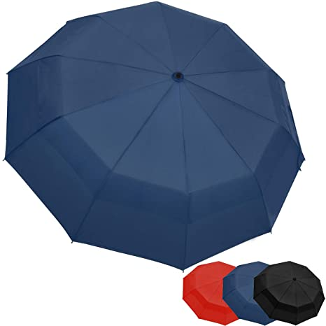 aa92095f3e7d OUTDEW Compact Travel Umbrella w/Windproof Double Canopy Construction -  Auto Open/Close Button
