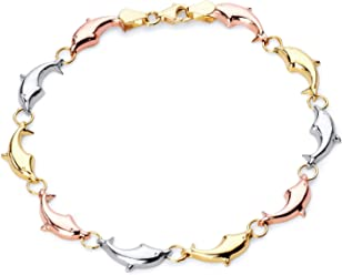 Wellingsale 14k Tri 3 Color Gold Polished Diamond Cut Stampato Heart Oval ID Bracelet with Lobster Claw Clasp 6