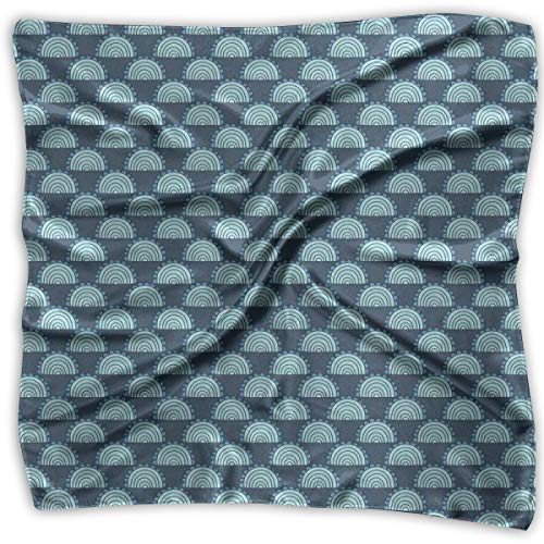Circular Silk Tie - Bandana Head and Neck Tie Neckerchief,Fish Scale Inspired Half Circular Shape Pattern With Small Arches,Headband