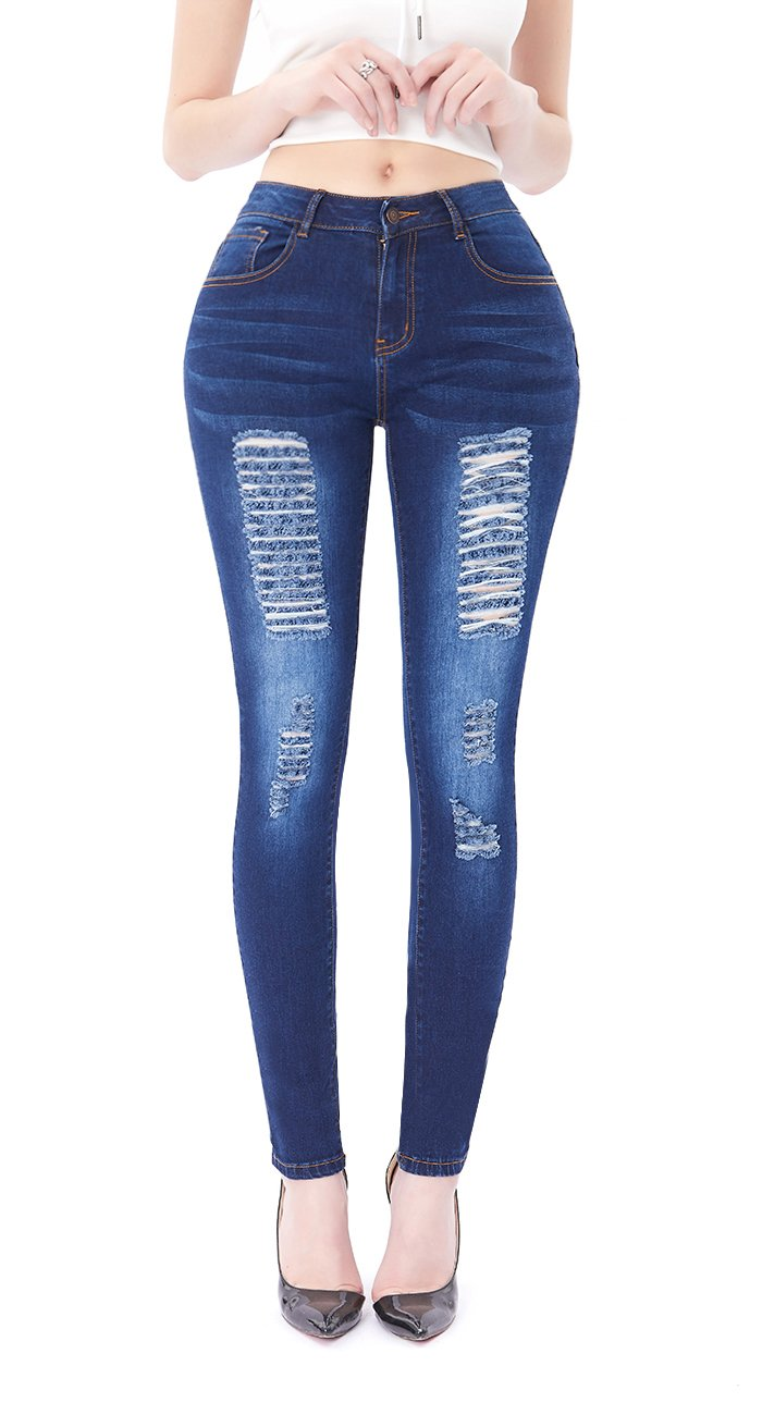 VICVIK Womens Distressed Ripped Skinny Stretch Jeans Butt Lift Super Comfy Denim Pants (Dark Blue, US 5)