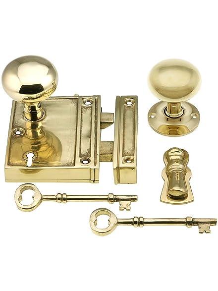 Brass Vertical Rim Lock Set With Solid Brass Door Knobs In ...
