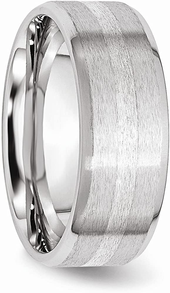 Jewels By Lux Cobalt Sterling Silver Inlay Satin//Polished Beveled Edge 8mm Band