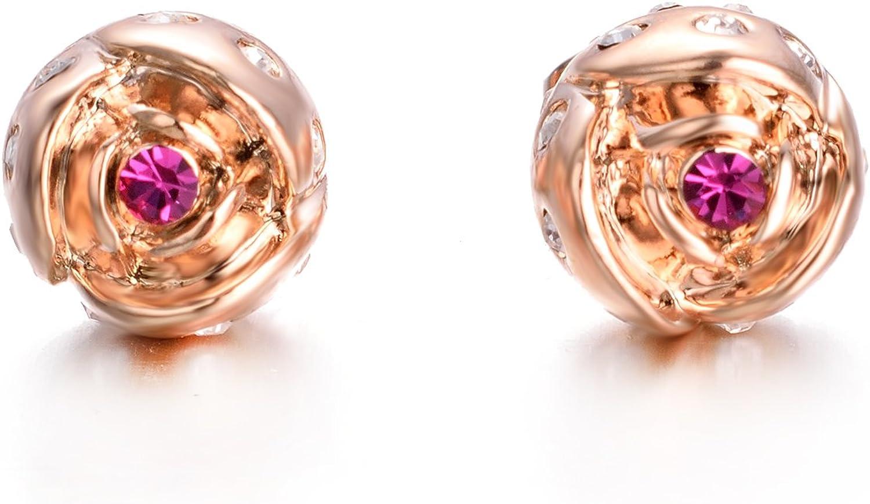 Yoursfs boucle d oreille femme or rose fleur 18k plaqu/é Or et Cristal forme de Fleur multicolore pour Femmes bijoux coeur rouge clous d oreilles