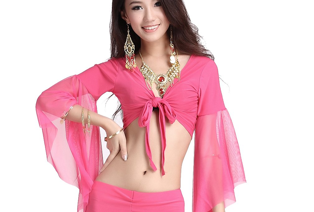 ZLTdream Lady's Belly Dance Mesh Bandage Top Rose