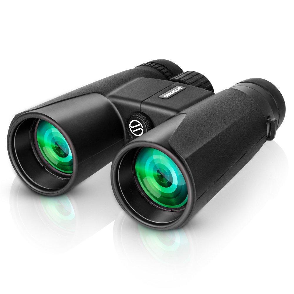 Prismaticos, OBOSOE 12x 42 Plegables Binoculares con Prisma Bak-4 Prismáticos plegables Zoom con Visíon Telescopio Ideal para Conciertos Partido de Fútbol Camping Caza Observación de Pájaros