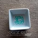 Mini Square White Ceramic Monogrammed Ring Dish