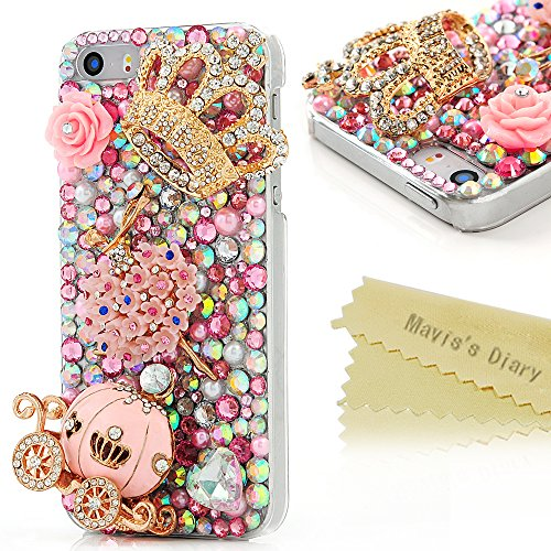 Iphone SE Case,Iphone 5S/5 Case - Mavis's Diary 3D Handmade Bling Crytal Luxury Series Cute Pumpkin Car Golden Crown Pink Flower Dancing Girl Shiny Heart Rhinestone Diamonds Clear Hard Cover (Clear Rhinestone Iphone 5s Case)
