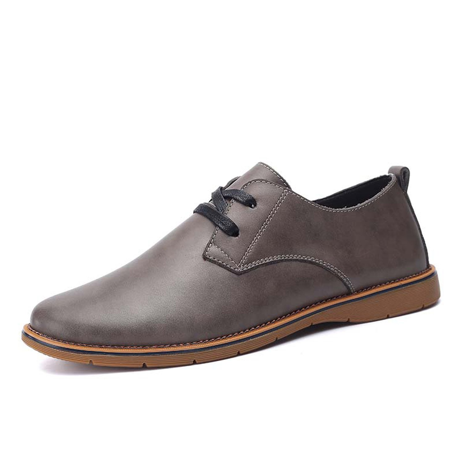 Memoriesed Men Casual Lace-up Oxfords Black Brown Grey Size 37-44 Brand Fashion Men Leather,Black,6