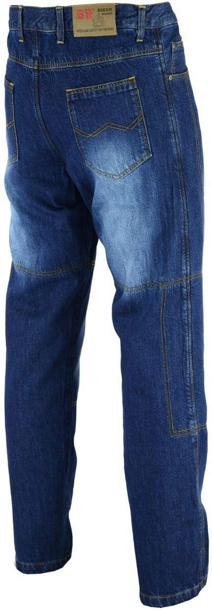 Pantaloni jeans da moto con fodera protettiva blu in denim con imbottitura in pelle