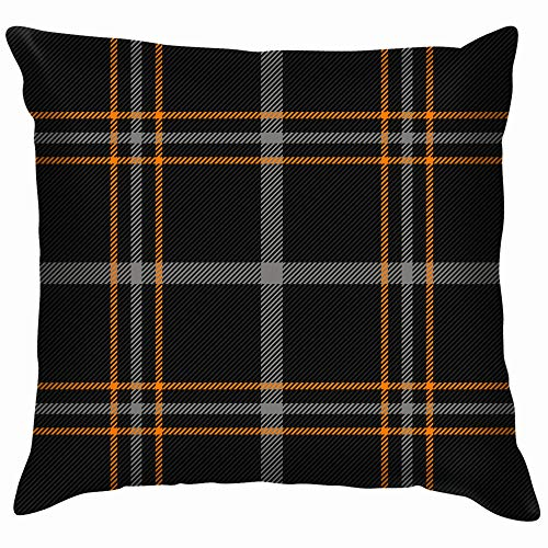 Halloween Tartan Plaid Scottish Orange Buffalo Holidays Pillow Case Throw Pillow Cover Square Cushion Cover 20X20 Inch