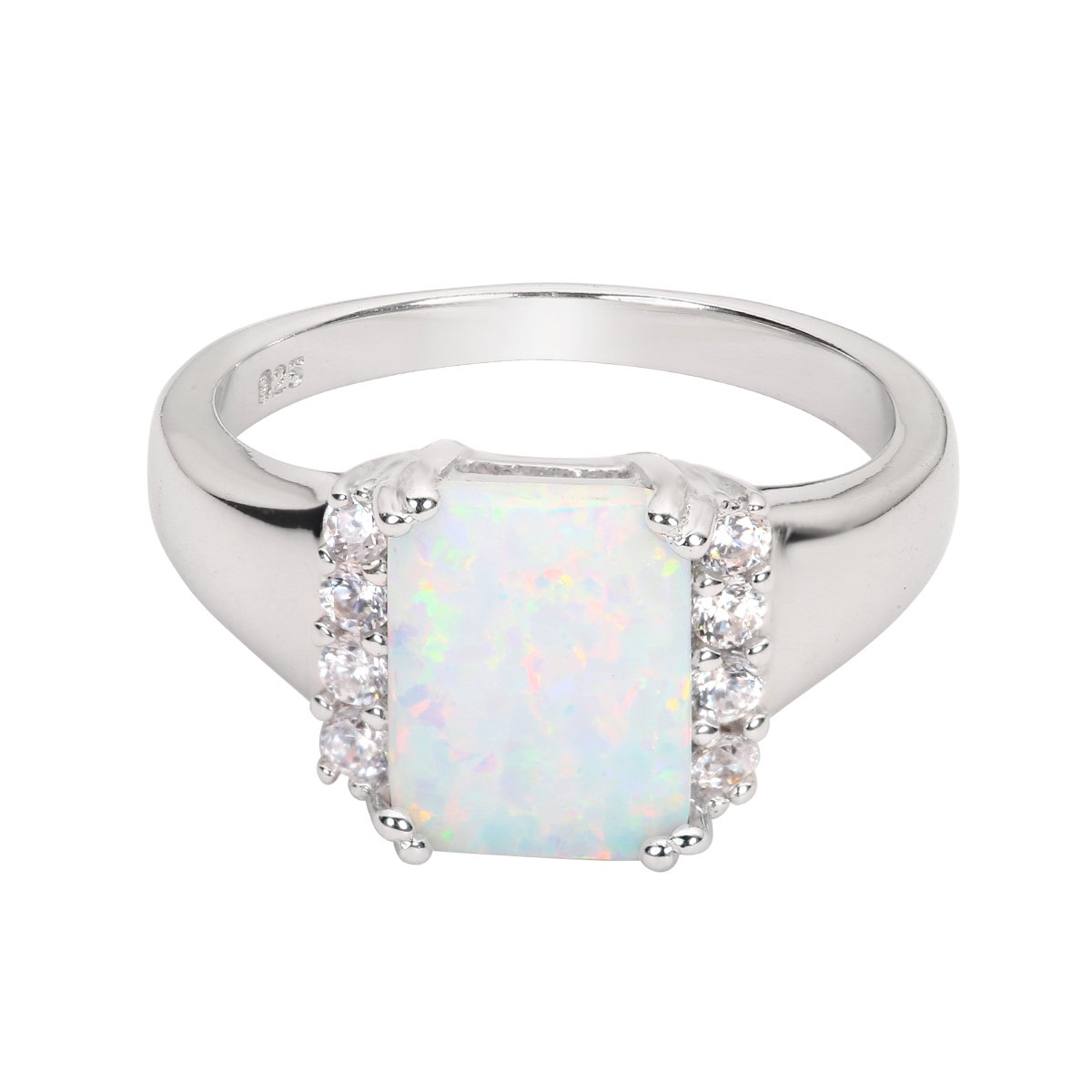 Princess Kylie Rectangle White Synthetic Opal Cubic Zirconia Ring Sterling Silver Size 8