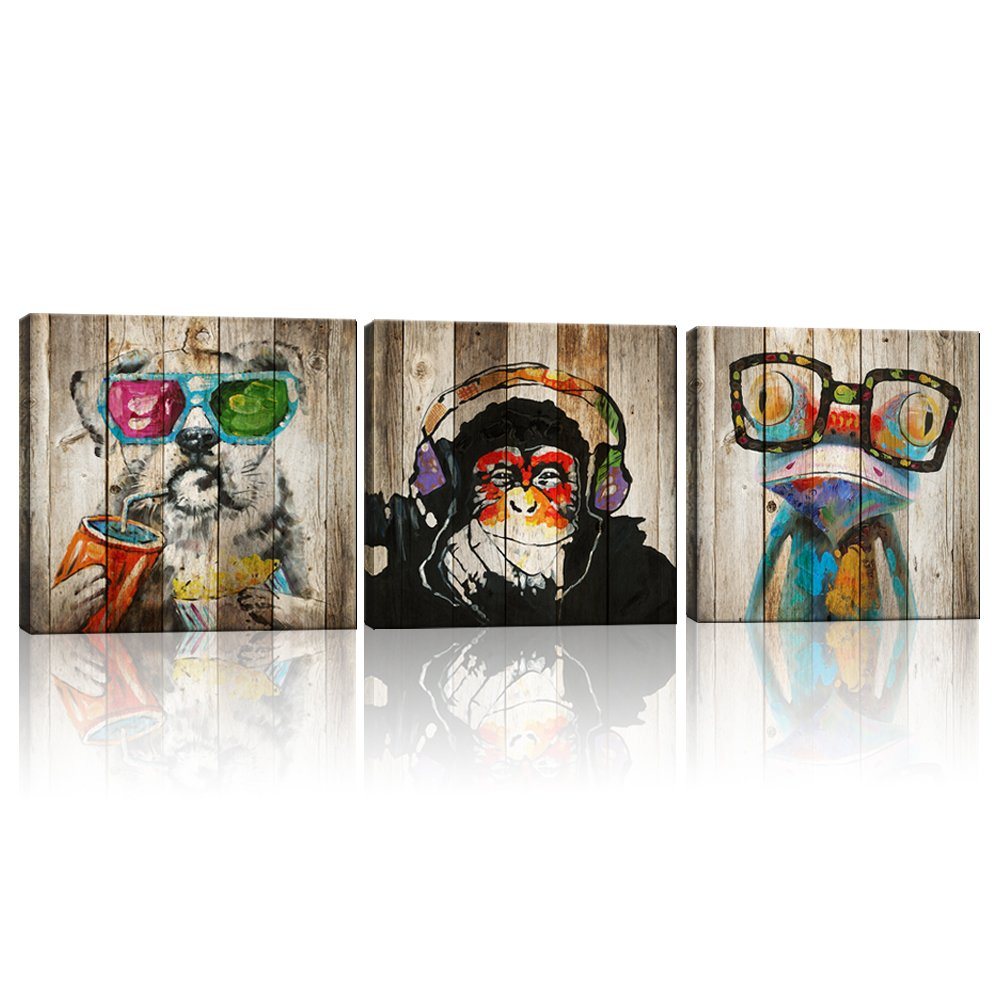 Kolo Wall Art Abstract Animals Frog Gorilla Dog Painting Picture Image Printed on Canvas Home Wall Decor Art Decoration Living Room Bedroom Wall Art 32''x32''x3