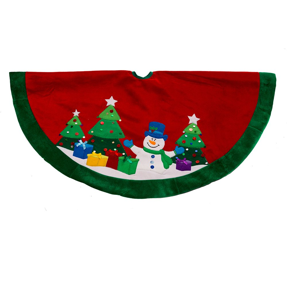 Kurt Adler Snowman and Trees Applique and Embroidered Treeskirt, 48-Inch