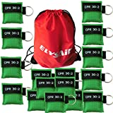 Elysaid 50 Cpr Mask with Keychain Cpr Face Shield Aed Green Pouch Writing Cpr 30:2