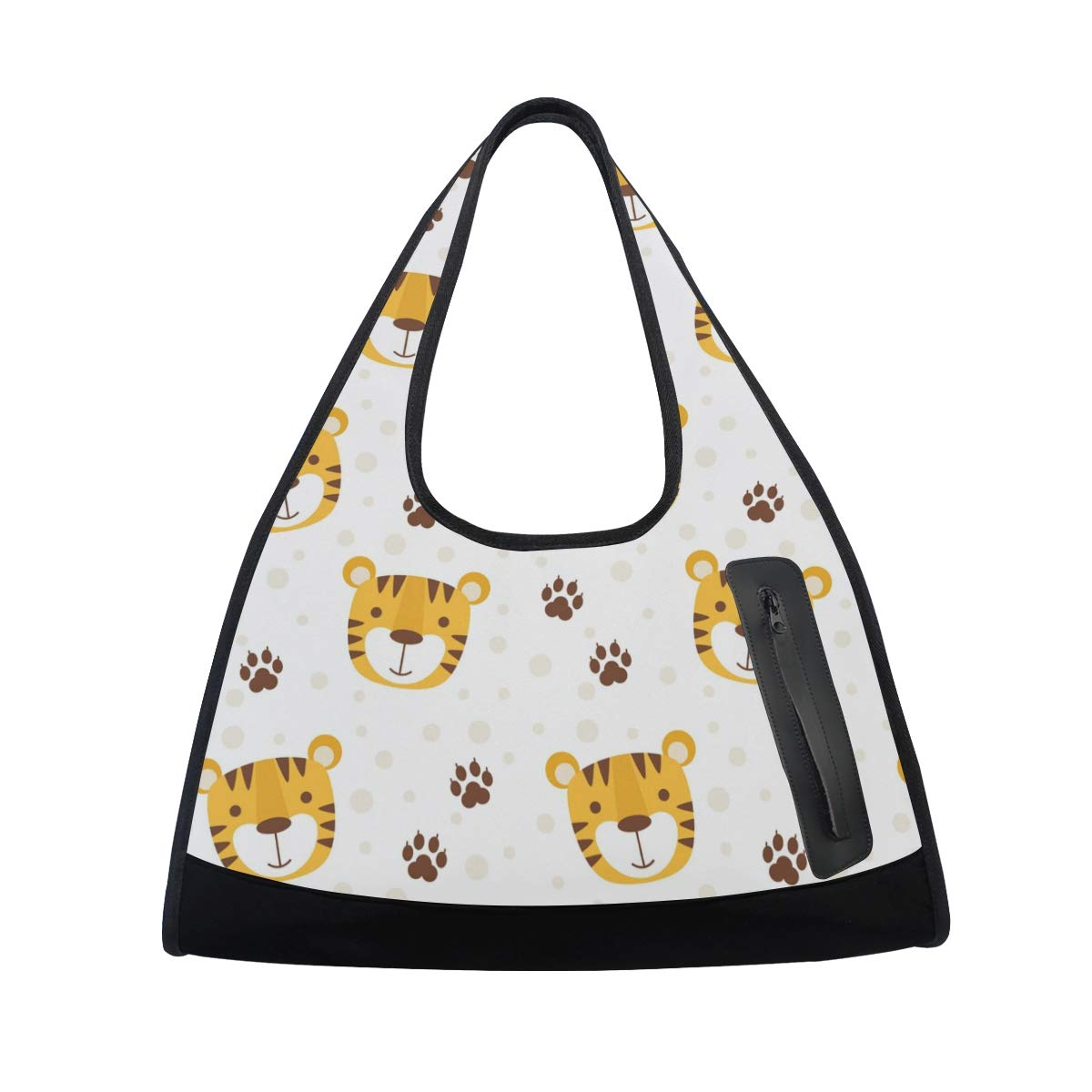 Lovely Tiger With Paws Background Women Sports Gym Totes Bag Multi-Function Nylon Travel Shoulder Bag