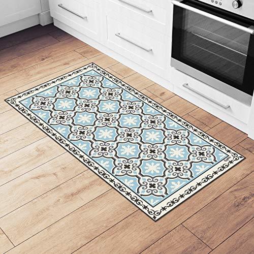 Camoone Non Slip Kitchen Mat + 4 Free Coasters - (Toscana Garden) Retro Blue & Off-White Decorative Vinyl Kitchen Floor Mat, Hypoallergenic, Insulated, Easy to Clean, Non-Toxic