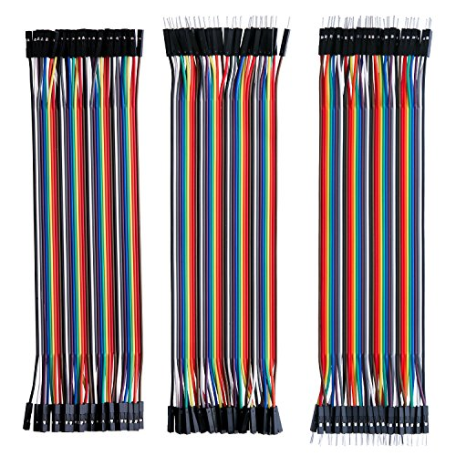 - Elegoo EL-CP-004 120pcs Multicolored Dupont Wire 40pin Male to Female, 40pin Male to Male, 40pin Female to Female Breadboard Jumper Wires Ribbon Cables Kit for arduino