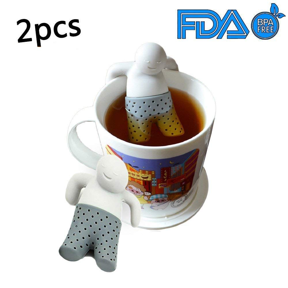 Silicone Tea Infuser Loose Tea Leaf Strainer Herbal Spice Filter Diffuser (Man Shape)