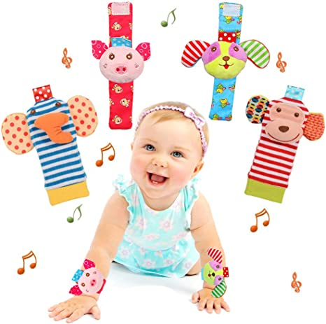 Baby Einstein Toys Soft Baby Wrist Rattle Foot Finder Socks Set,Cotton and Plush Stuffed Infant Toys,Birthday Holiday Birth Present for Newborn Boy Girl 0//3//4//6//7//8//9//12//18 Months Kids Toddler