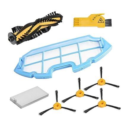 Kit de accesorios de limpieza para robots aspiradores Conga Excellence: 4 cepillos laterales, 1 cepillo central, 1 filtro EPA, 1 filtro malla, 1 ...
