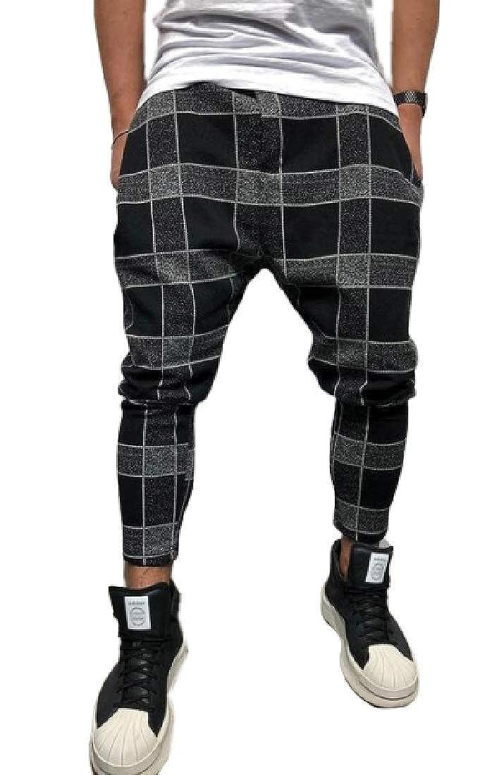 KLJR Men Color Block Fashion Baggy Checked Elastic Waist Long Pants