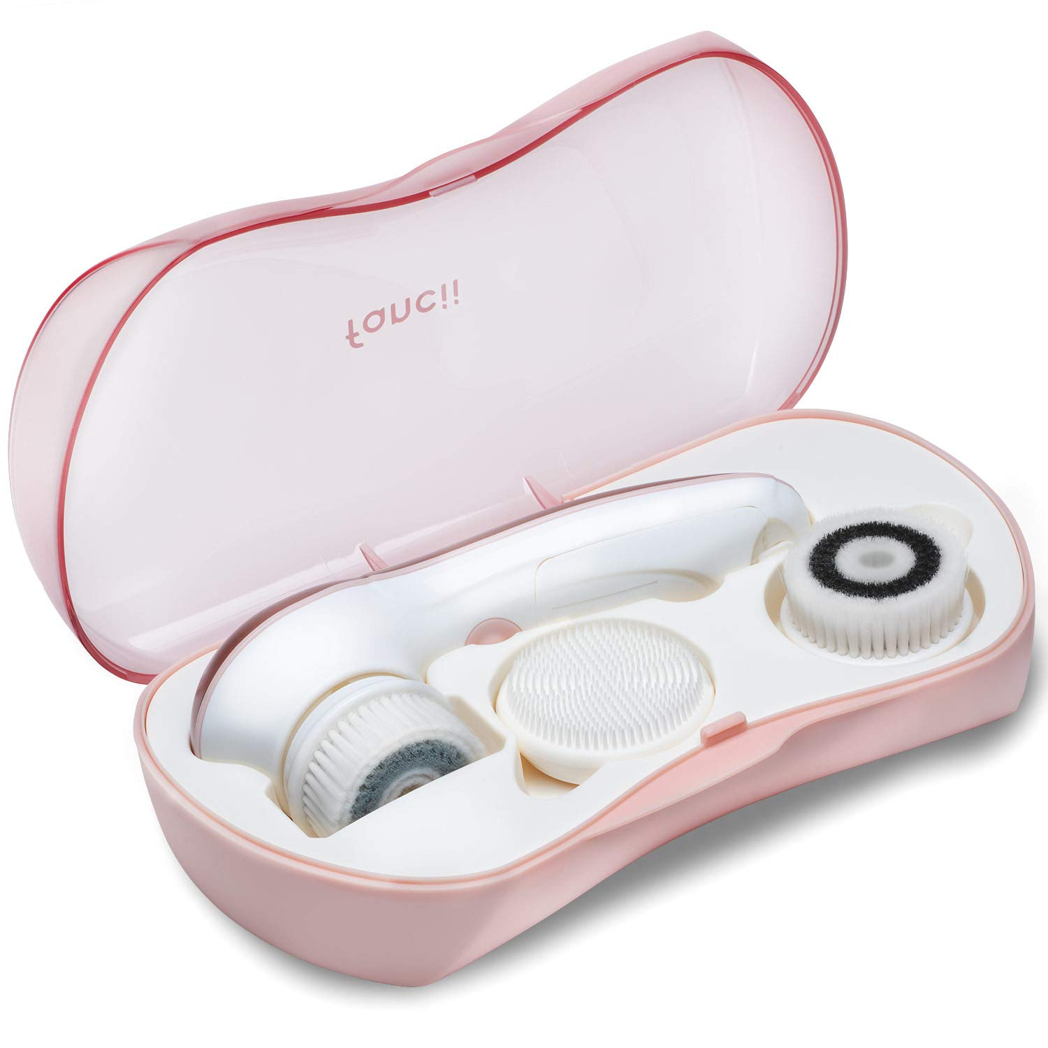 Waterproof Facial Cleansing Spin Brush Set with 3 Exfoliating Brush Heads - Complete Face Spa System by Fancii - Advanced Microdermabrasion for Gentle Exfoliation and Deep Scrubbing