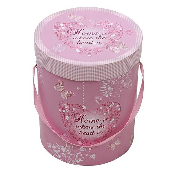 JVL Juego de 2 Cajas de Almacenamiento diseños de Mariposas y corazón, Redondas, Rosas: Amazon.es: Hogar