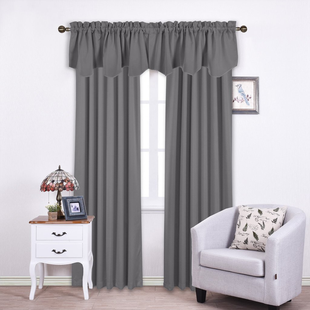 Nicetown Window Scalloped Valance for Kitchen - 52-inch by 18-inch Rod Pocket Blackout Drapery Curtain