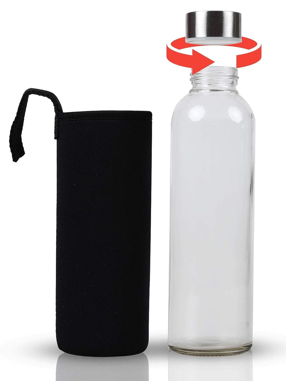 S/äfte Luftdichte Trinkflaschen f/ür Erwachsene /& Kinder 6 x 500 ml Glasflasche -Trinkflasche 6er Set Mit Nylon Schutzh/üllen Wasserflaschen f/ür Smoothies Wasser und andere Getr/änke BPA Frei Tee