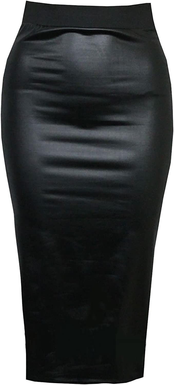 RIDDLEDWITHSTYLE Falda de Tubo Acampanado de PVC para Mujer Negro ...
