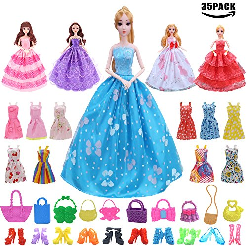 Sawaruita 35 Pack Barbie Doll Clothes Accessary Suit, 15 Pcs Party Gown Outfits with 10 Piece Doll Handbags and 10 Pairs Shoes, Great Gift for Girl's Birthday and Christmas by Sawaruita