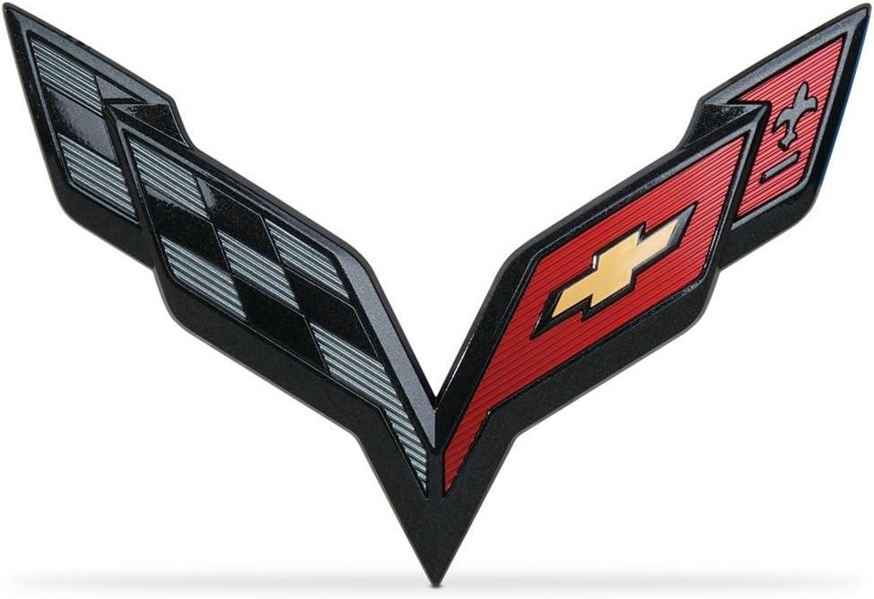 Coolandi CV-C7B C7 Corvette Front /& Rear Crossed Flags Emblems Black Carbon Flash Trunk Hood Emblem Badge For Chevy