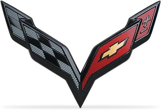 Rear Crossed Flags Emblems Badges 2014 Corvette C7 Stingray Front Bumper Emblem CV-C7 Replacement C7 Corvette Stingray Carbon Flash Black Exterior Front Set of 2