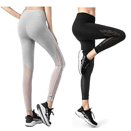 8ae7e9de8778f3 KSUA Womens Mesh Yoga Pants High Waist Workout Running Leggings Capris Gym  Tights Sport Leggings (
