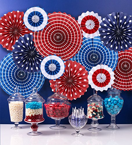 Moon Boat Fourth of July Patriotic Decorations - Red White Blue Hanging Paper Fans - 4th of July Party -