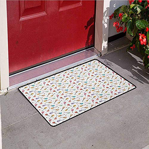 GloriaJohnson Guitar Commercial Grade Entrance mat Rhythm and Melody Pattern with Colorful Acoustic Guitars Country Music Songs Theme for entrances garages patios W29.5 x L39.4 Inch Multicolor