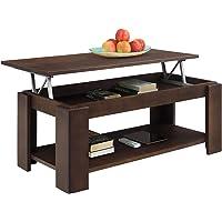 COMIFORT Table de Centre Salon relevable avec Porte-revues Intégré de chêne Massif 100X 50X 43/55cm