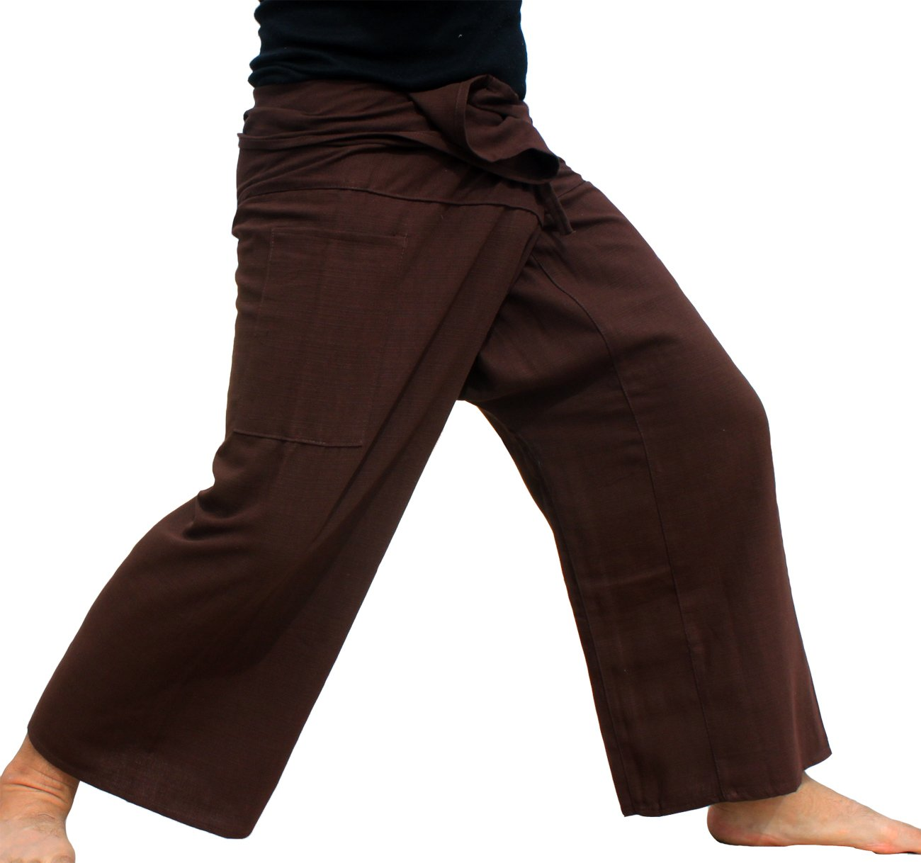 Raan Pah Muang Brand Plain Thick Line Cotton Thai Fisherman Wrap Tall Length Pants, X-Large, Bistre Brown by Raan Pah Muang