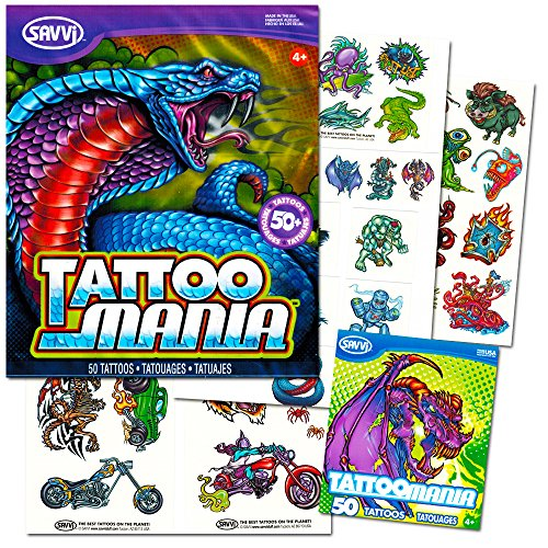 New School Temporary Tattoos Set Kids Adults -- 100 Bright and Bold Tattoos (Party Supplies)