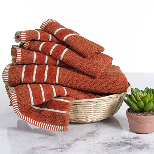 Combed Cotton Towel Set- Rice Weave 100% Combed Cotton 6 Piece Set With 2 Bath Towels, 2 Hand Towels and 2 Washcloths by Lavish Home- Brick ()